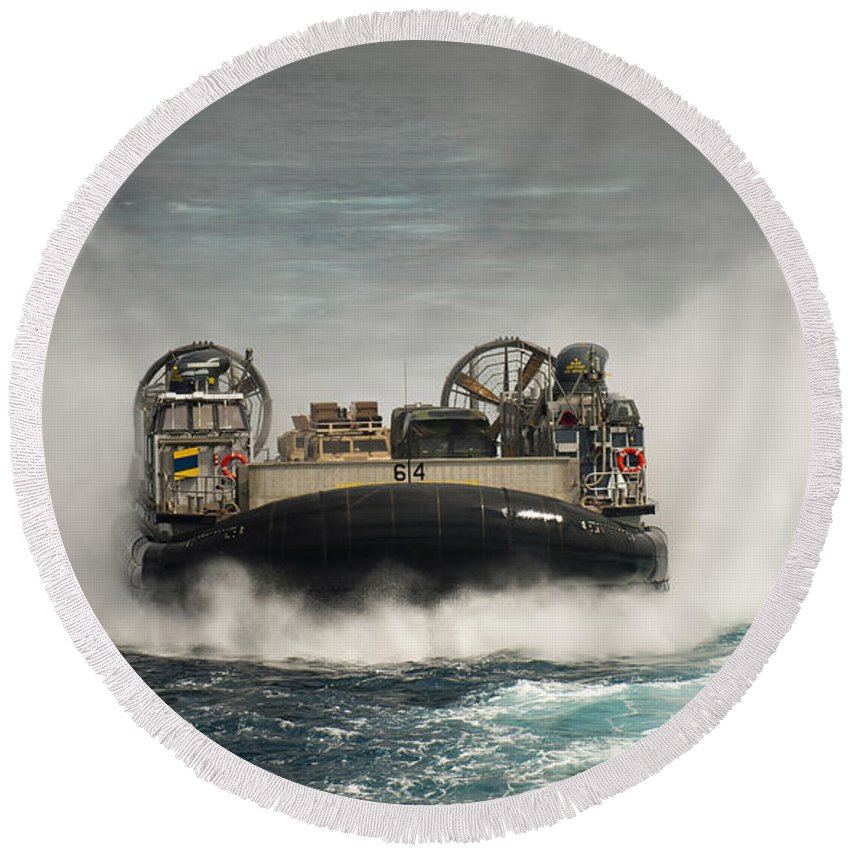 Lcac Round Beach Towel featuring the photograph A Landing Craft Air Cushion Transits by Stocktrek Images