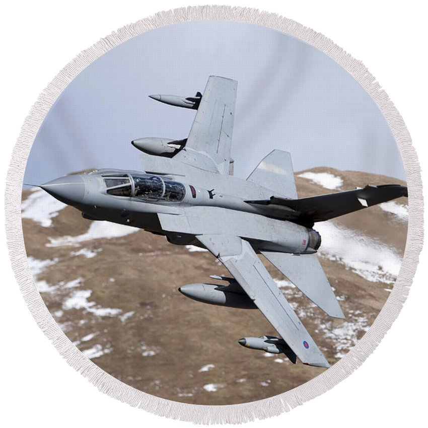 Royal Air Force Round Beach Towel featuring the photograph A Royal Air Force Tornado Gr4 by Andrew Chittock