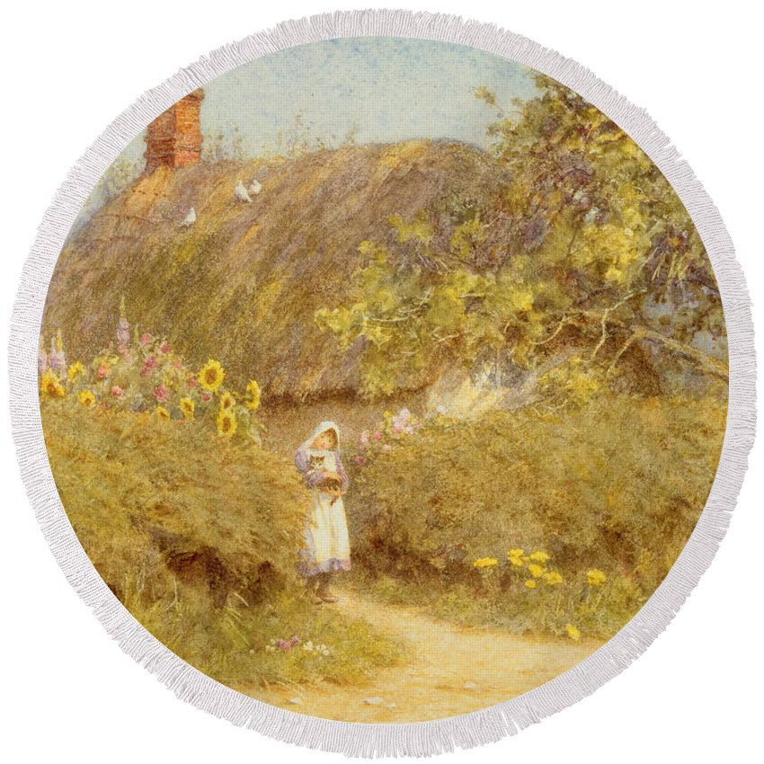 Surrey; Cottage; Rural; Country; Countryside; Thatch; Thatched; Sunny; Sunflowers; Foxgloves; Flowers; Doves; Pigeons; Birds; Hedge; Female; Young; Child; Girl; Pinafore; Cat; Pet; Holding; Chimney; House; Home; Idyll Round Beach Towel featuring the painting A Surrey Cottage by Helen Allingham