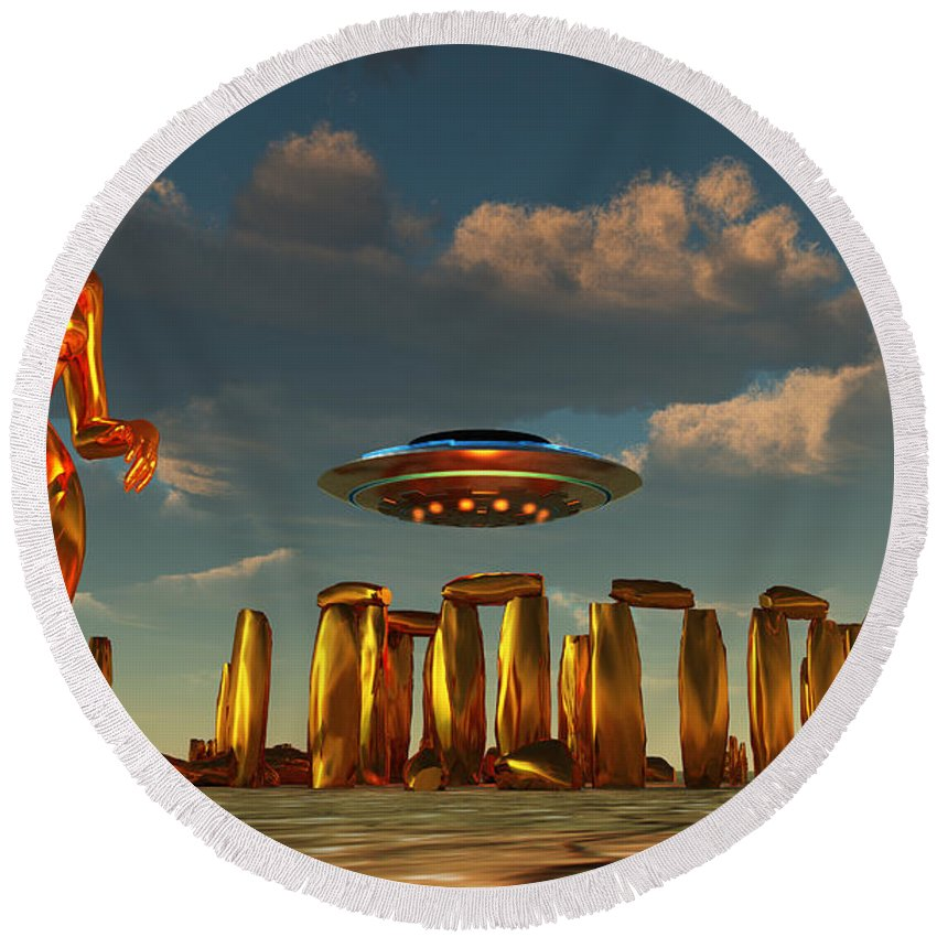Horizontal Round Beach Towel featuring the digital art Alien Interdimensional Beings Recharge by Mark Stevenson