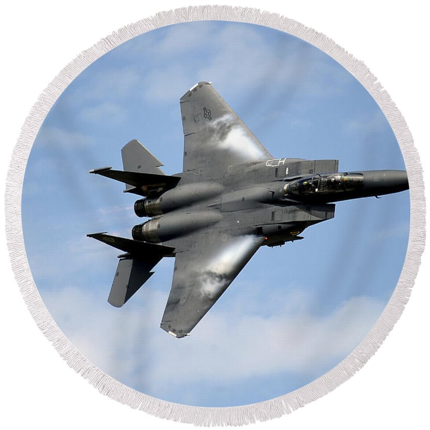 Air Force Round Beach Towel featuring the photograph An F-15e Strike Eagle Soars by Stocktrek Images