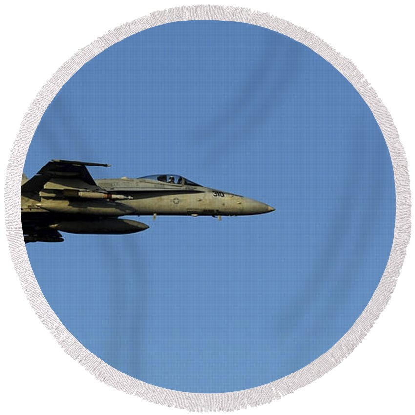 F-18 Hornet Round Beach Towel featuring the photograph An Fa-18c Hornet In Flight by Stocktrek Images