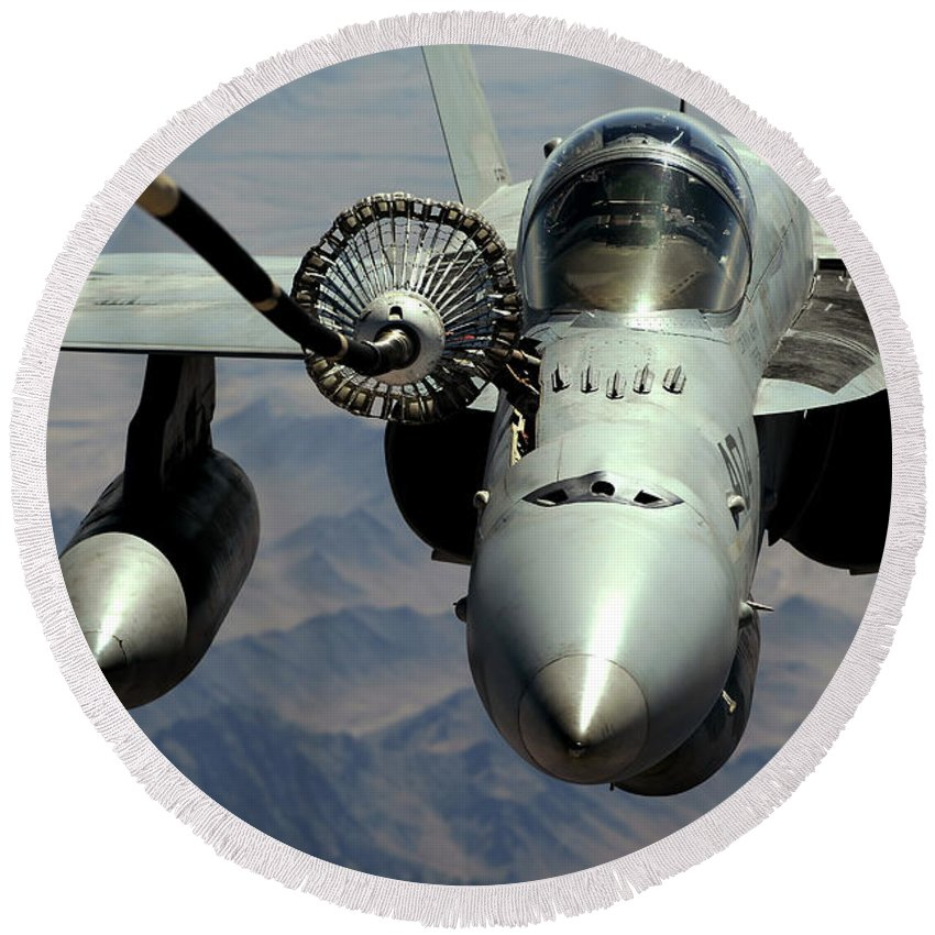 Afghanistan Round Beach Towel featuring the photograph An Fa-18c Hornet Receives Fuel by Stocktrek Images