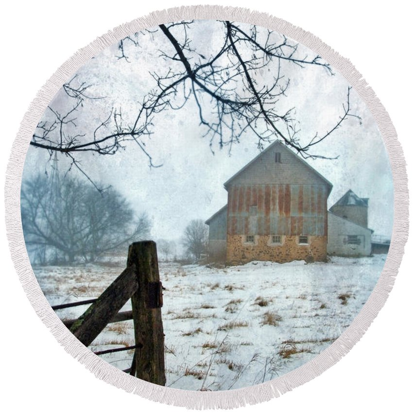 Rural Round Beach Towel featuring the photograph Barn In Winter by Jill Battaglia