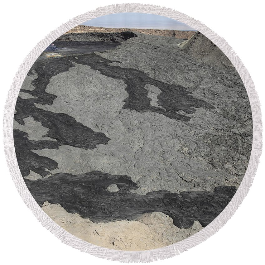 Hornito Round Beach Towel featuring the photograph Basaltic Lava Flow From Pit Crater by Richard Roscoe