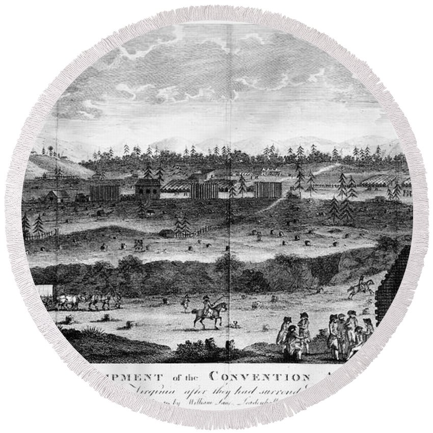 1777 Round Beach Towel featuring the photograph Battle Of Saratoga, 1777 by Granger