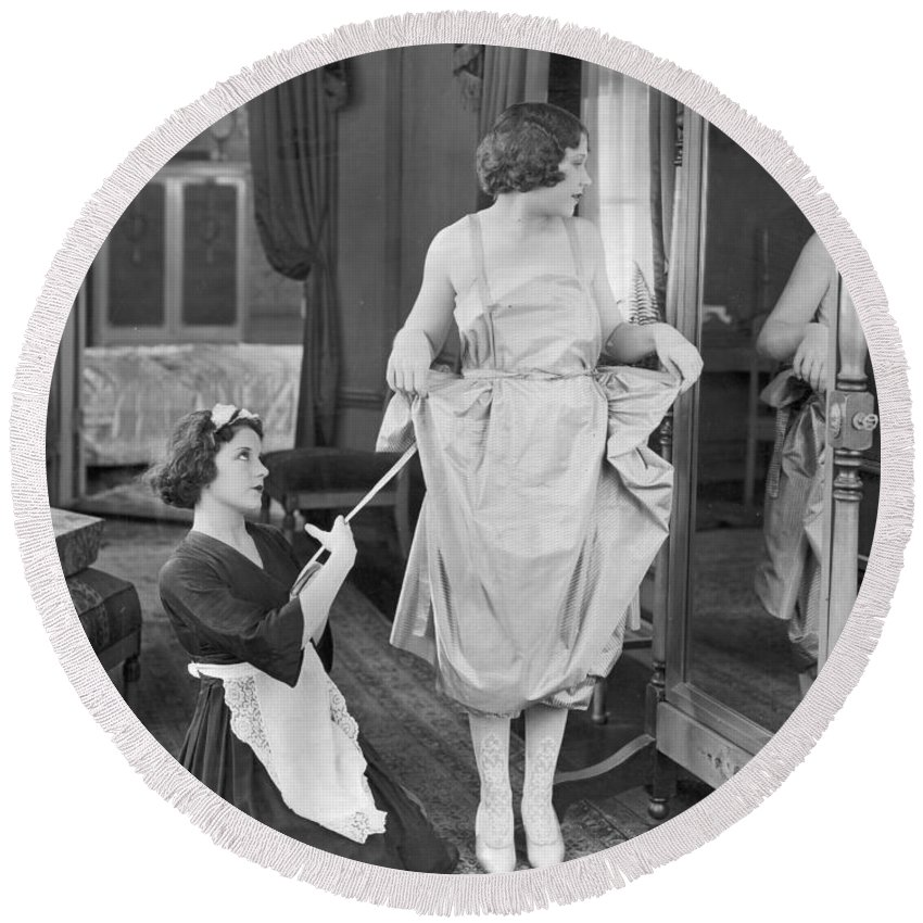 1920s Round Beach Towel featuring the photograph Bedroom Scene, 1920s by Granger