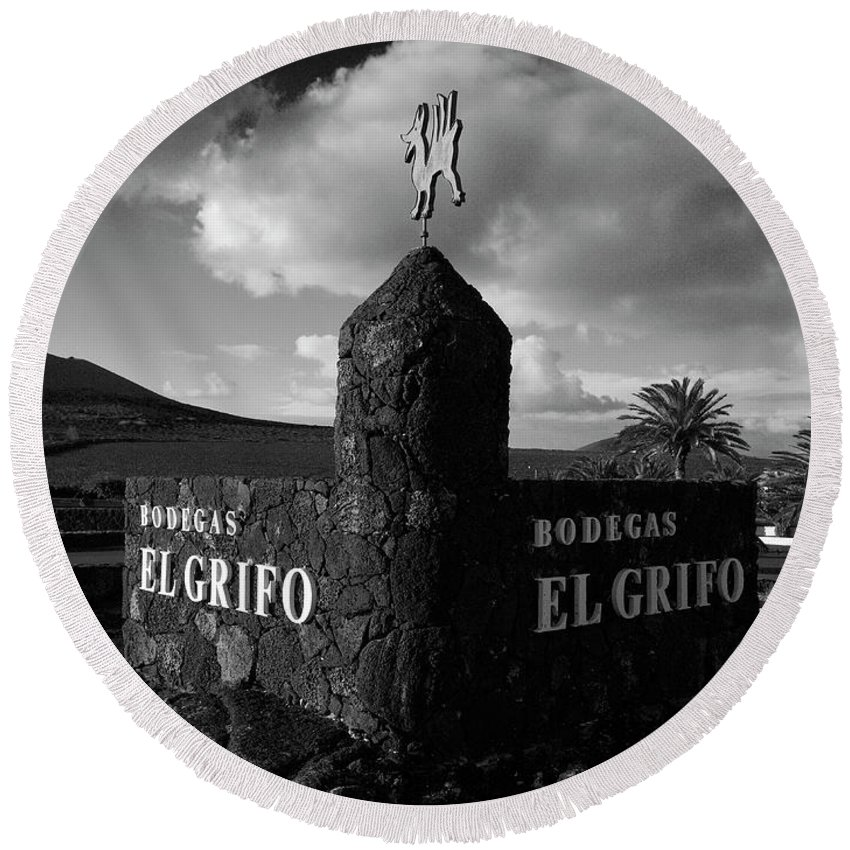 Canary Islands Round Beach Towel featuring the photograph Bodegas El Grifo by Jouko Lehto