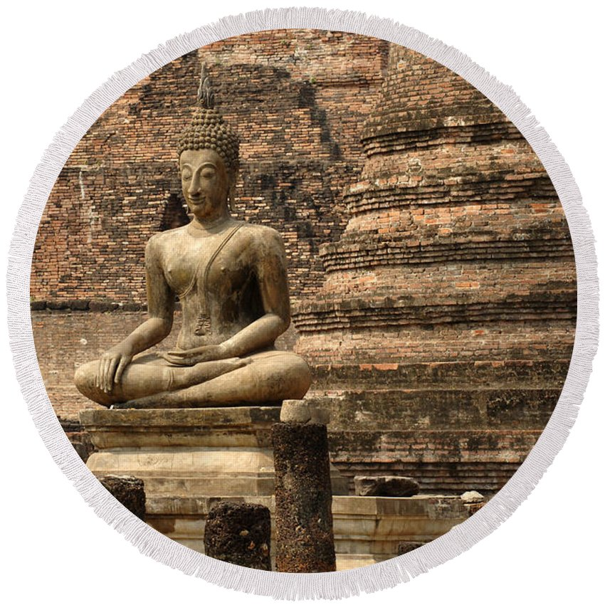 Sukhothai Round Beach Towel featuring the photograph Buddha At Sukhothai by Bob Christopher