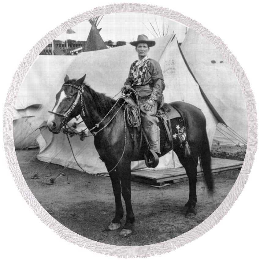 1901 Round Beach Towel featuring the photograph Calamity Jane (c1852-1903) by Granger