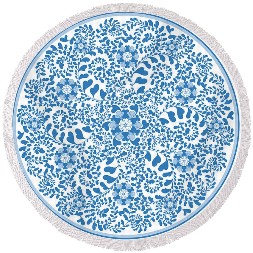 Horizontal Round Beach Towel featuring the digital art Chinese Traditional Blue And White Porcelain Style Pattern by BJI Blue Jean Images