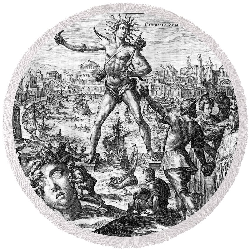 3rd Century B. C. Round Beach Towel featuring the photograph Colossus Of Rhodes by Granger