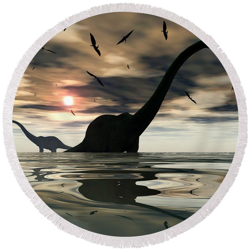 Digitally Generated Image Round Beach Towel featuring the digital art Diplodocus Dinosaurs Bathe In A Large by Mark Stevenson
