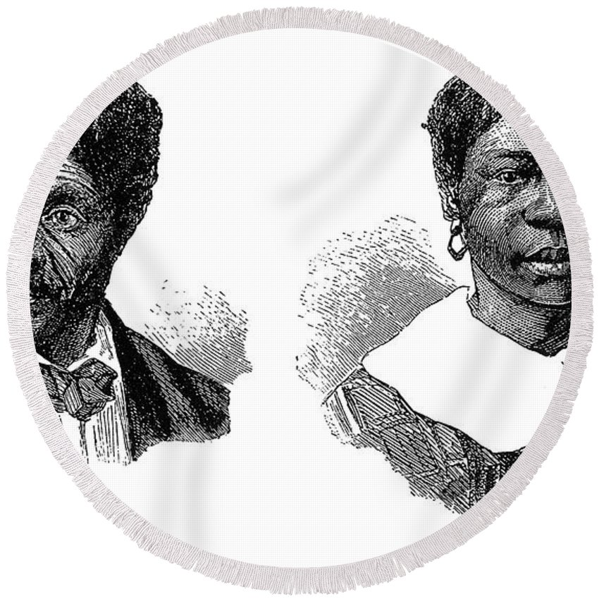 1850s Round Beach Towel featuring the photograph Dred Scott (1795?-1858) by Granger