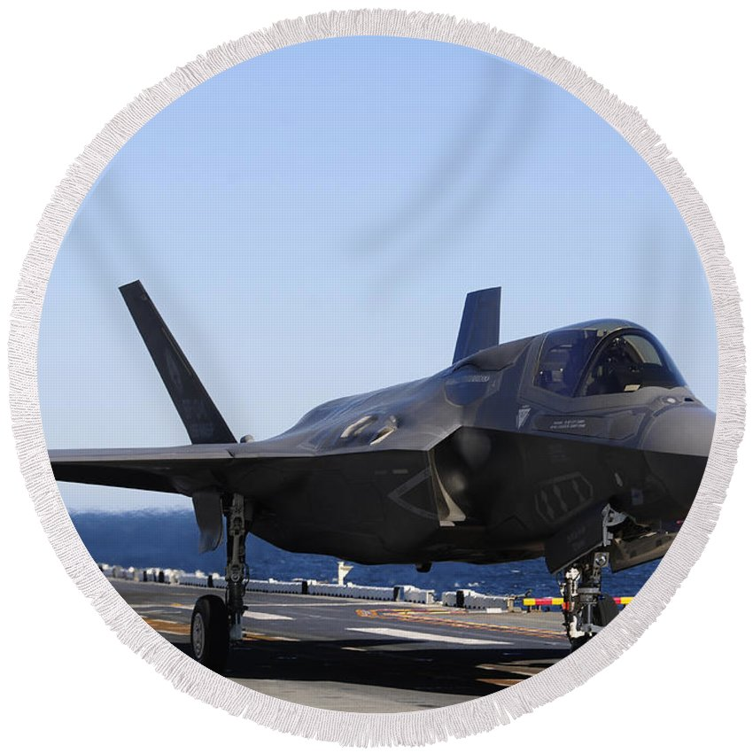 Maritime Round Beach Towel featuring the photograph F-35b Lighnting II Variants Land Aboard by Stocktrek Images