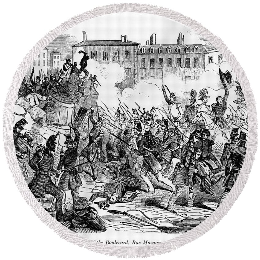 1848 Round Beach Towel featuring the photograph France: Revolution, 1848 by Granger