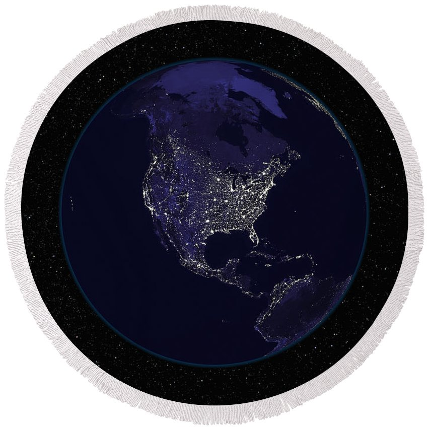 Color Image Round Beach Towel featuring the photograph Full Earth At Night Showing City Lights by Stocktrek Images