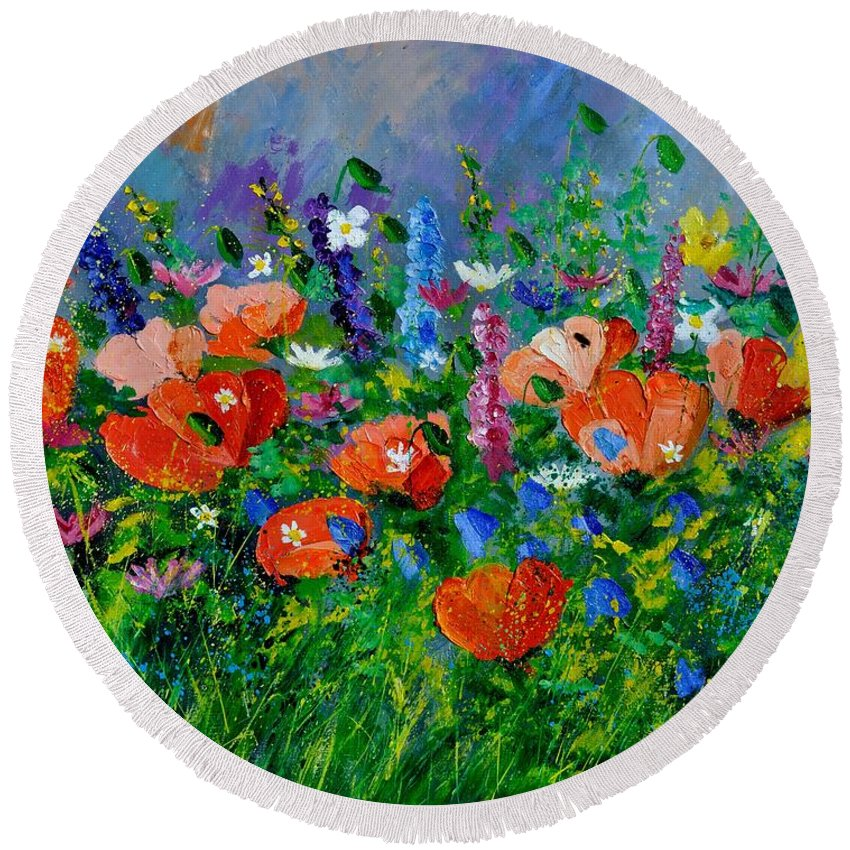 Flowers Round Beach Towel featuring the painting Garden Flowers by Pol Ledent