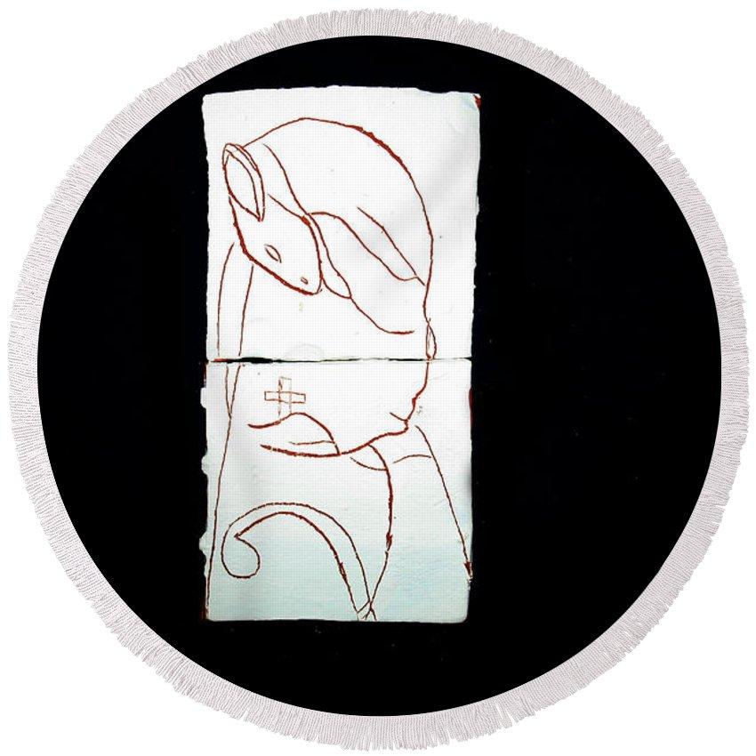 Jesus Round Beach Towel featuring the ceramic art Good Shepherd by Gloria Ssali