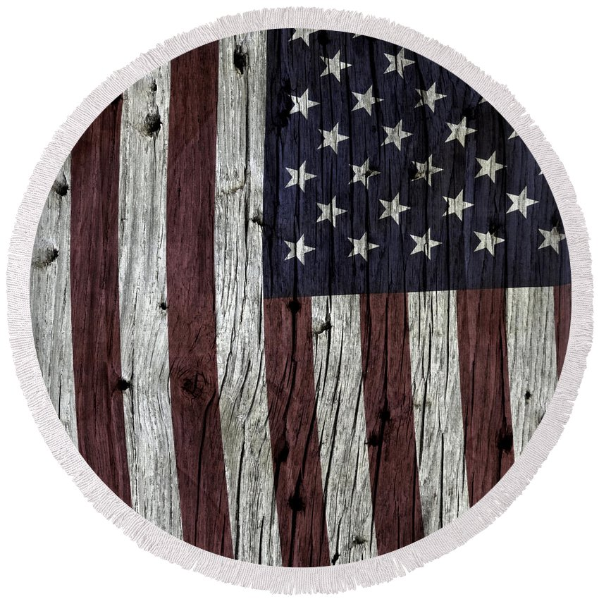 Usa Round Beach Towel featuring the photograph Grungy Textured Usa Flag by John Stephens