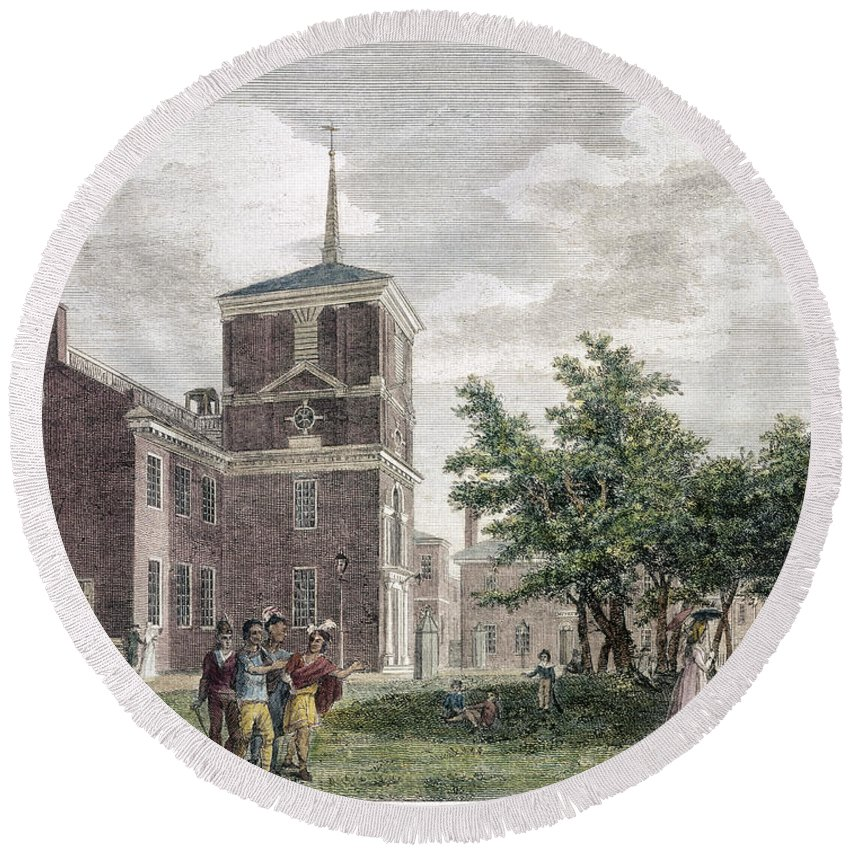 1799 Round Beach Towel featuring the photograph Independence Hall, 1799 by Granger