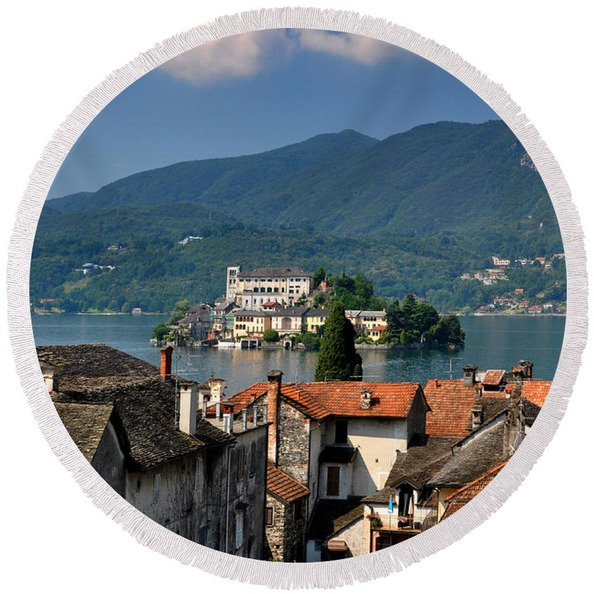 Island Round Beach Towel featuring the photograph Island San Giulio by Mats Silvan