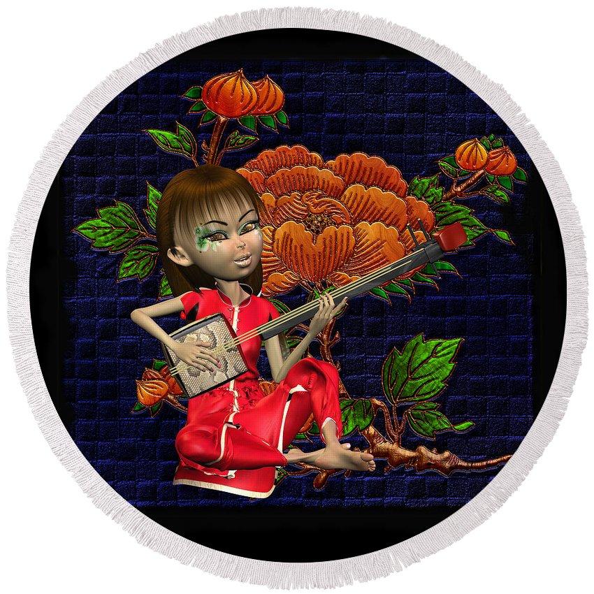Japanese Woman Playing A Musical Instument Round Beach Towel featuring the digital art Japanese Woman by John Junek