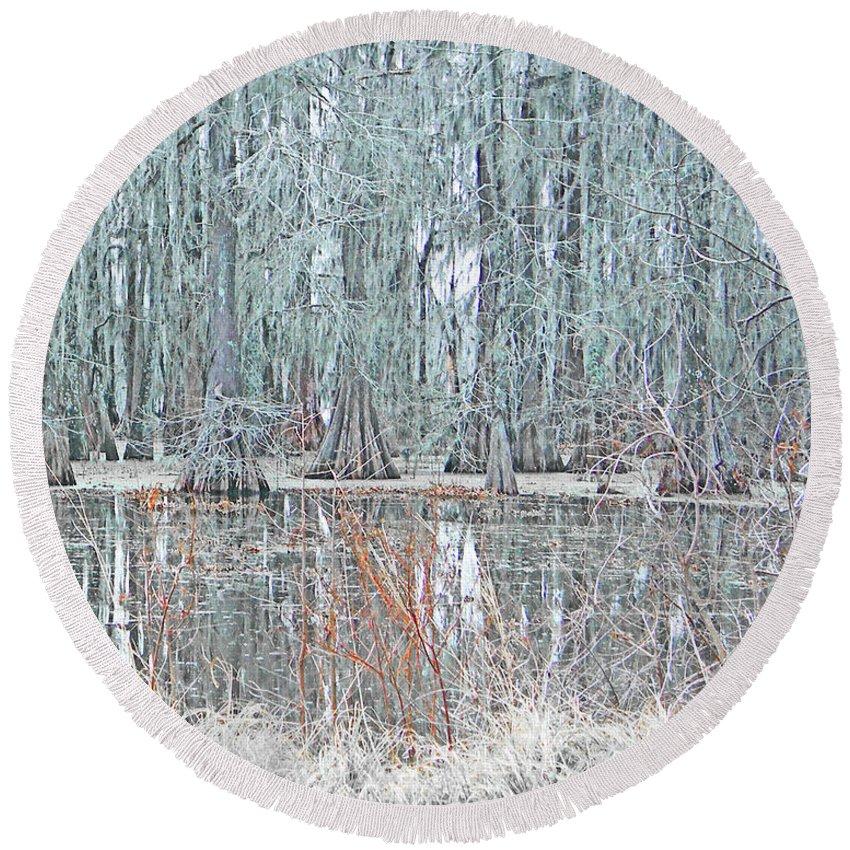 Swamp Round Beach Towel featuring the digital art Lake Martin Swamp by Lizi Beard-Ward