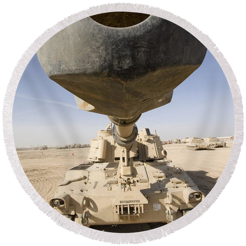 155mm Round Beach Towel featuring the photograph M109 Paladin, A Self-propelled 155mm by Terry Moore
