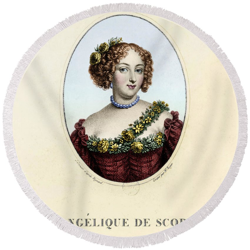 1687 Round Beach Towel featuring the photograph Marie-ang�lique De Rousille by Granger