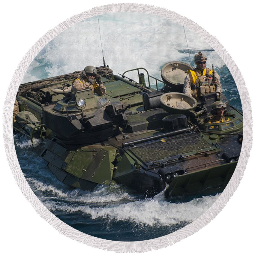Aav-7a1 Round Beach Towel featuring the photograph Marines Navigate An Amphibious Assault by Stocktrek Images