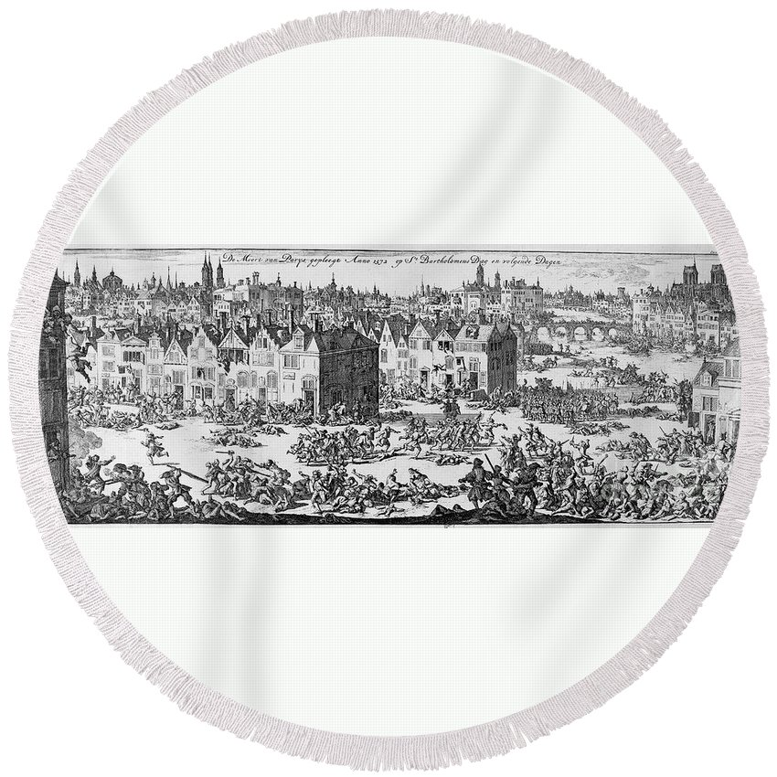 1572 Round Beach Towel featuring the photograph Massacre Of Huguenots by Granger