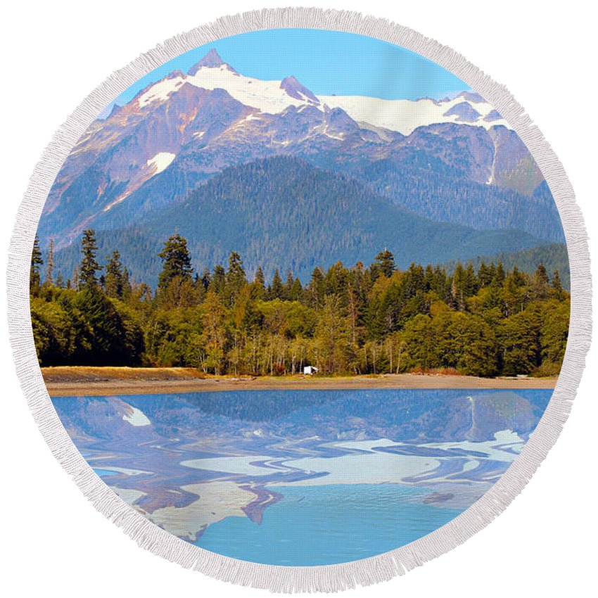 Alpine Round Beach Towel featuring the photograph Mount Shuksan by Paul Fell