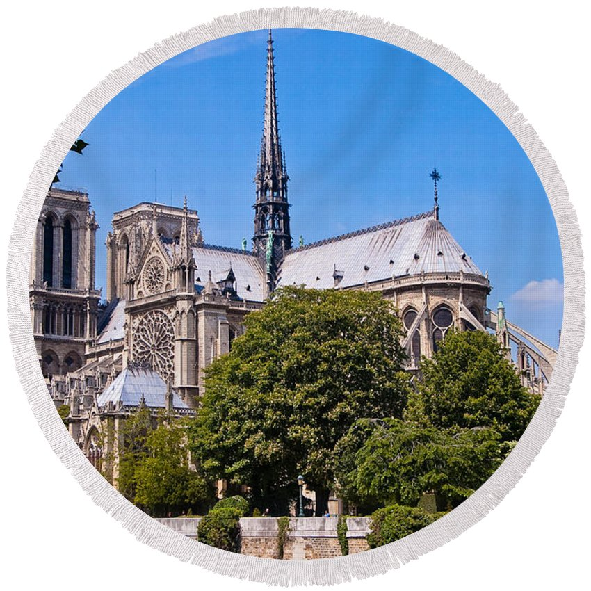 France Round Beach Towel featuring the photograph Notre Dame Cathedral Paris France by Jon Berghoff