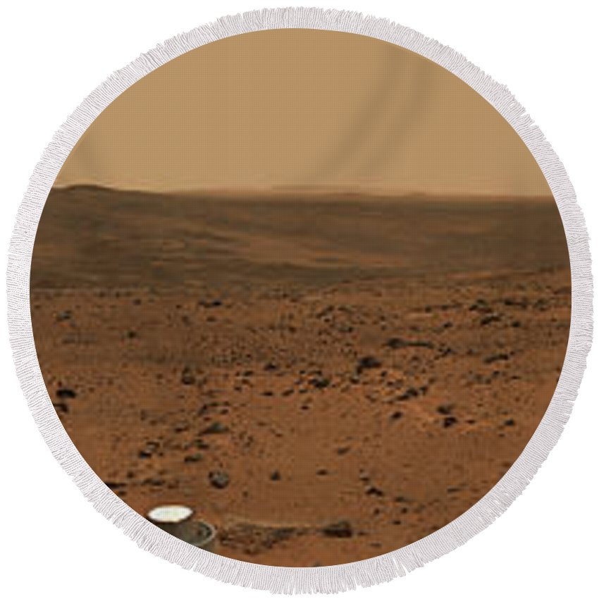 Crater Round Beach Towel featuring the photograph Panoramic View Of Mars by Stocktrek Images