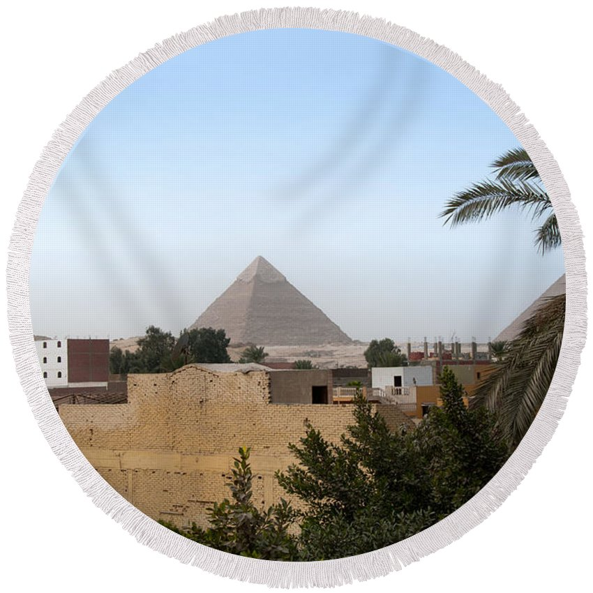 Africa Round Beach Towel featuring the digital art Pyramids Of Giza by Carol Ailles