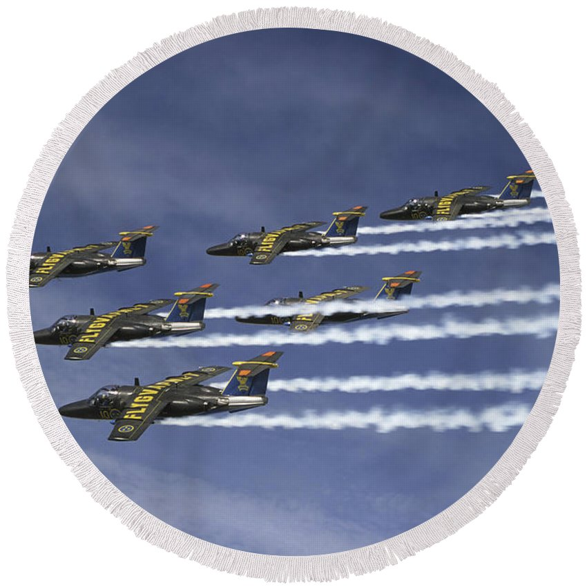 Team 60 Round Beach Towel featuring the photograph Saab 105 Jet Trainers Of The Swedish by Daniel Karlsson