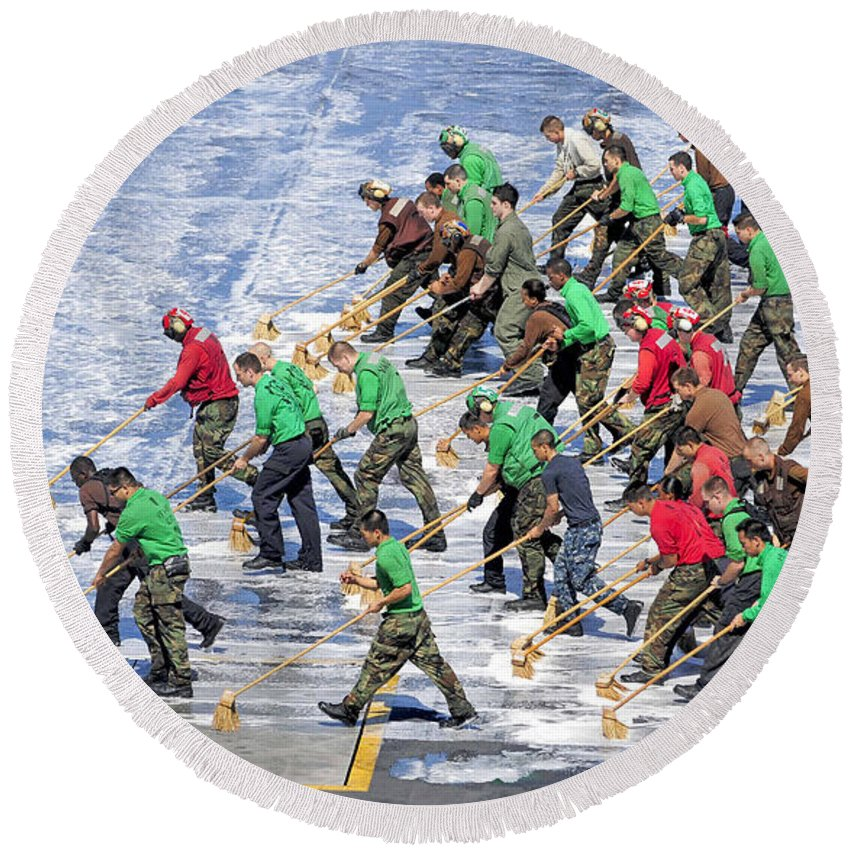 Walking Round Beach Towel featuring the photograph Sailors Perform A Flight Deck Wash by Stocktrek Images