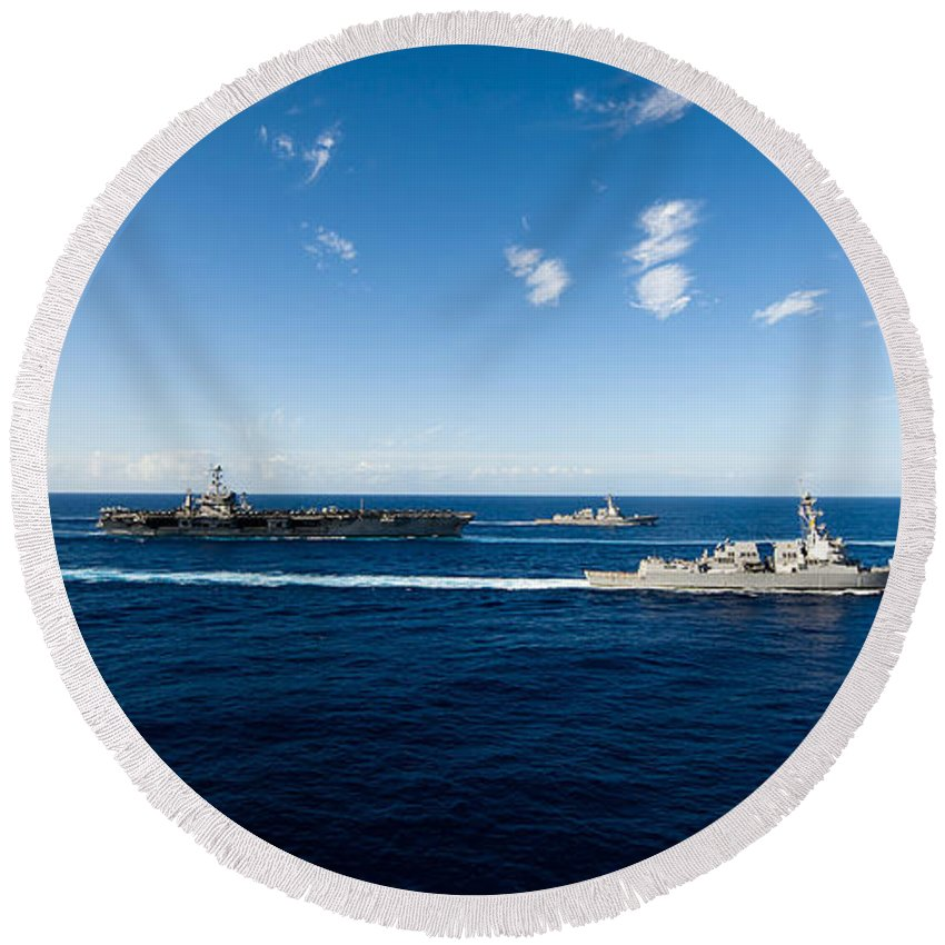 Uss John C Stennis Round Beach Towel featuring the photograph Ships From The John C. Stennis Carrier by Stocktrek Images