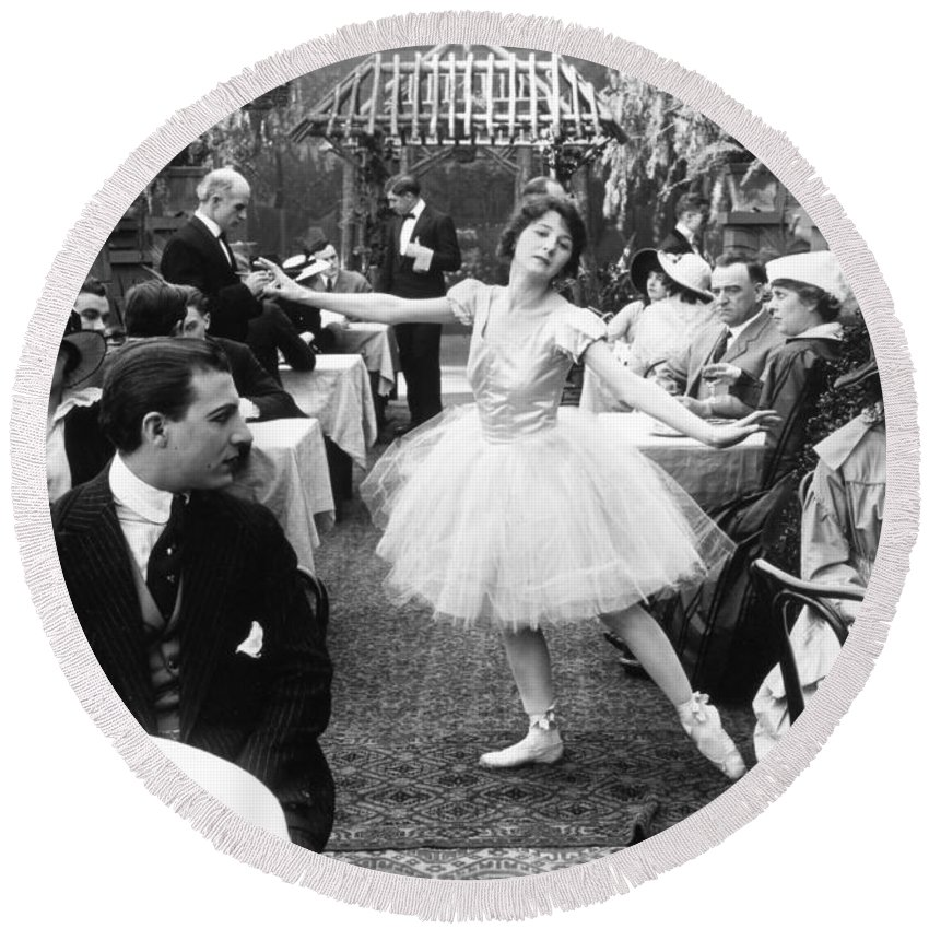 -dancing- Round Beach Towel featuring the photograph Silent Film Still: Dancing by Granger