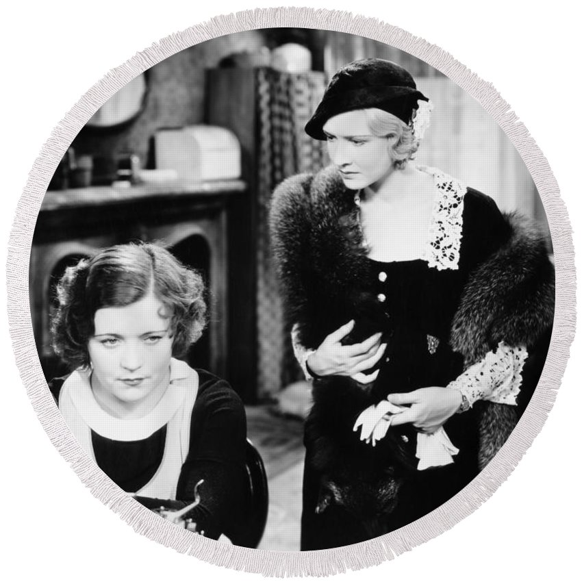 -ecq- Round Beach Towel featuring the photograph Silent Film Still: Women by Granger