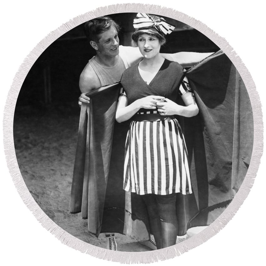 -bathing: Women's Suit & Pool- Round Beach Towel featuring the photograph Silent Still: Bathers by Granger