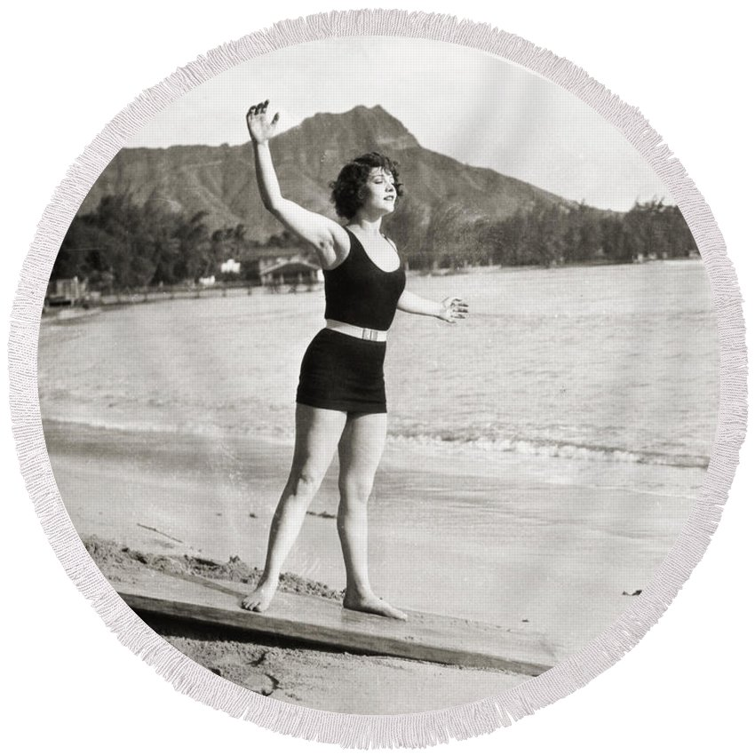 -bathing: Women's Suit & Pool- Round Beach Towel featuring the photograph Silent Still: Bathing by Granger