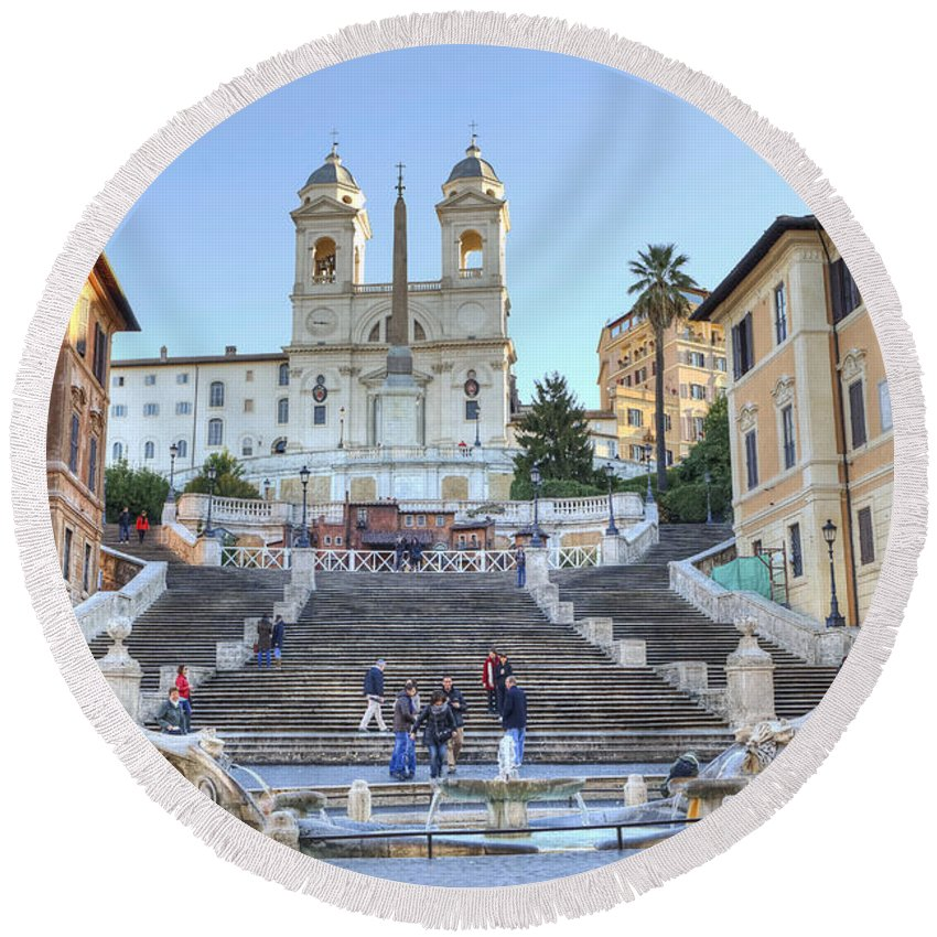 Spanish Steps In Rome Round Beach Towel For Sale By Joana Kruse