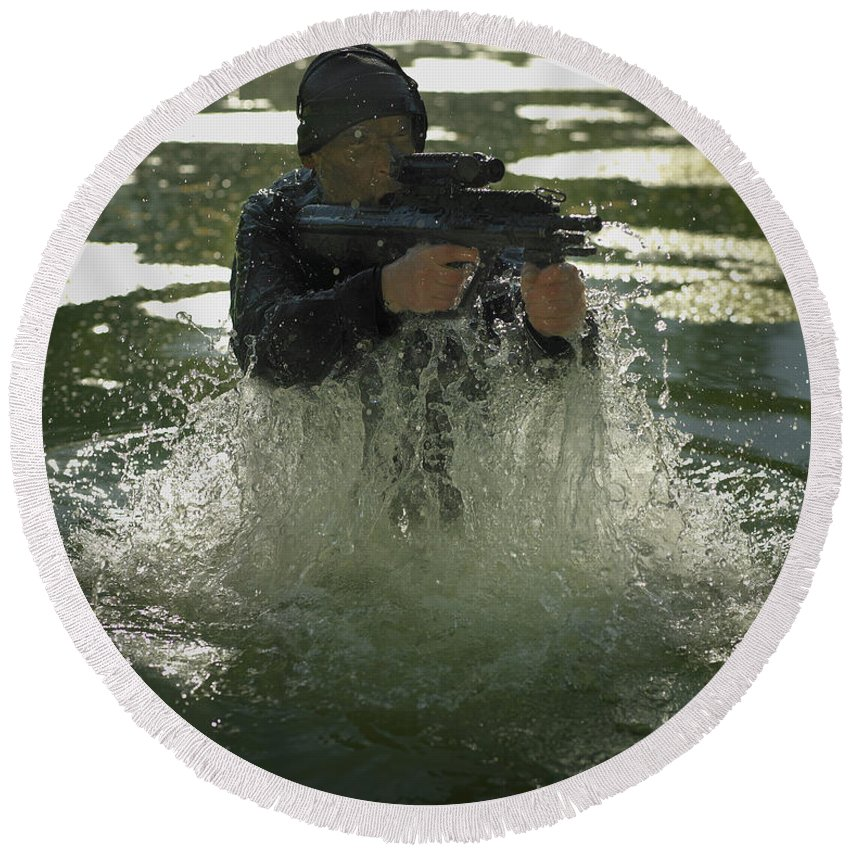 Special Operations Forces Round Beach Towel featuring the photograph Special Operations Forces Soldier by Tom Weber
