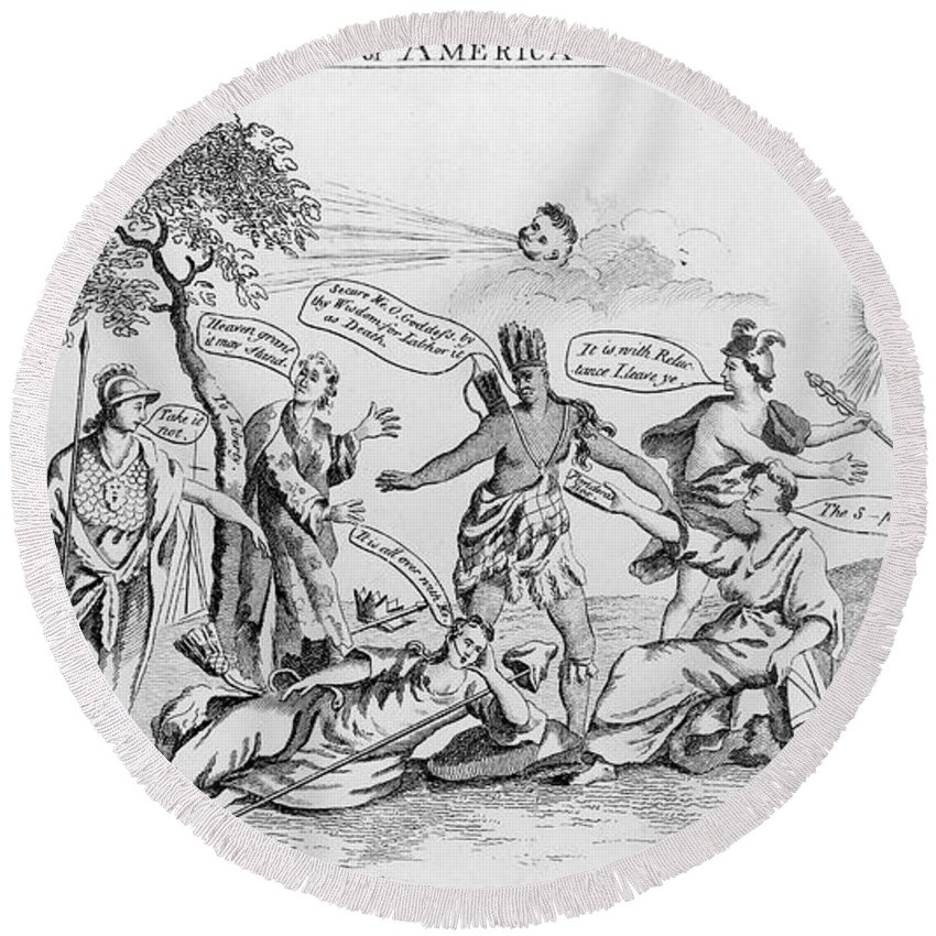 1765 Round Beach Towel featuring the photograph Stamp Act Cartoon, 1765 by Granger