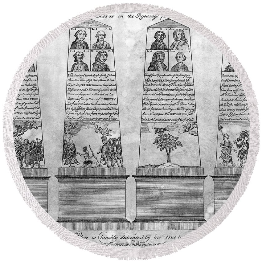 1766 Round Beach Towel featuring the photograph Stamp Act Repeal, 1766 by Granger