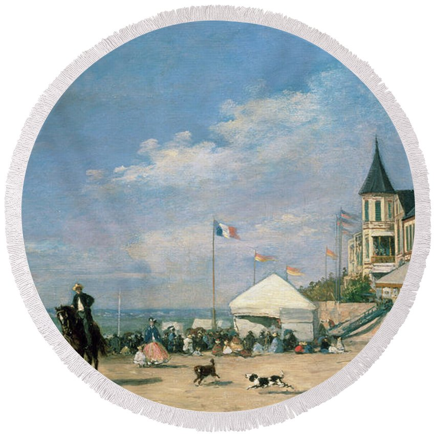 The Round Beach Towel featuring the painting The Beach At Trouville by Eugene Louis Boudin