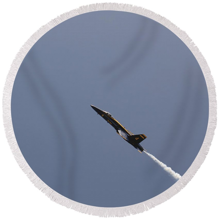 Aerial Round Beach Towel featuring the photograph The Blue Angels Perform Aerial by Stocktrek Images