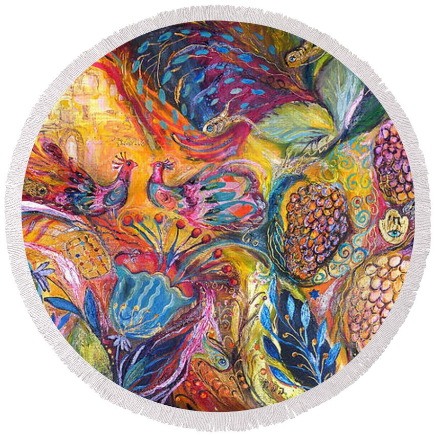 Original Round Beach Towel featuring the painting The Flowers And Fruits by Elena Kotliarker
